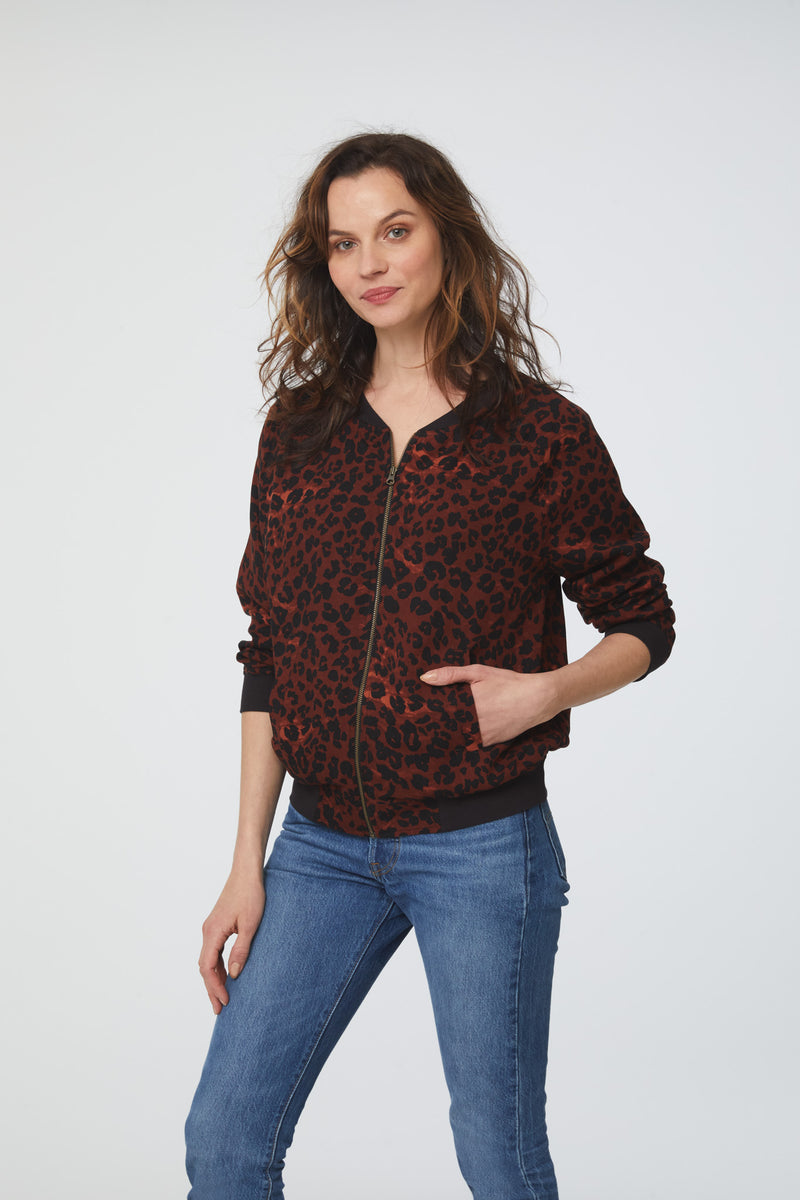 faded red and black leopard print, lightweight bomber jacket