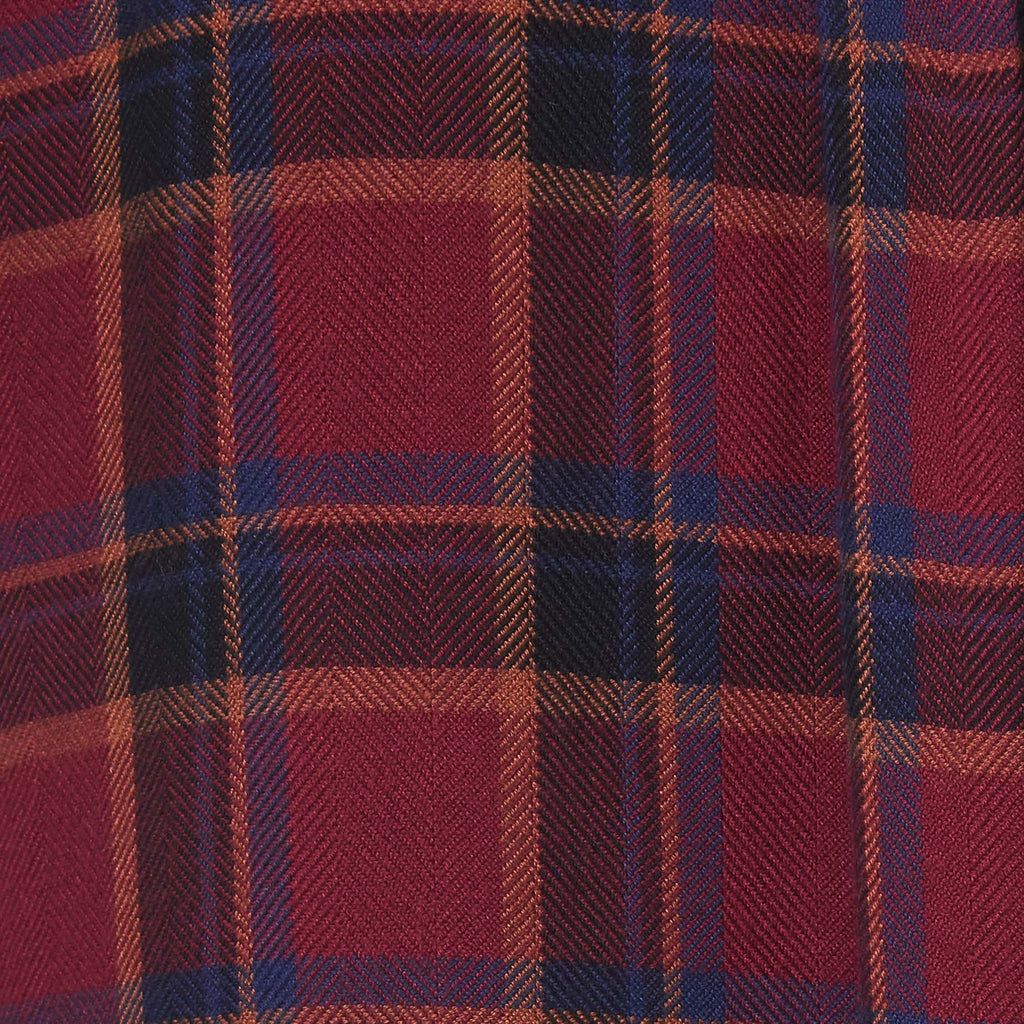 red plaid with blue accents