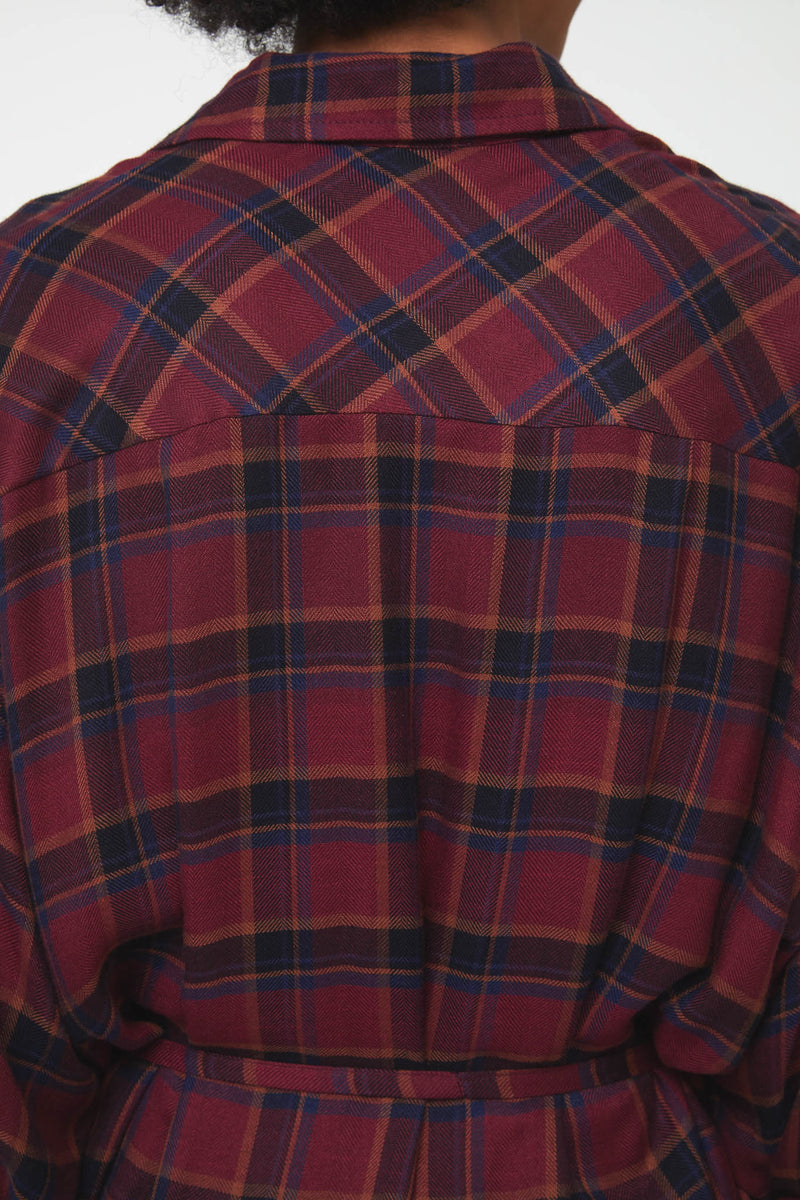back details of plaid mari dress