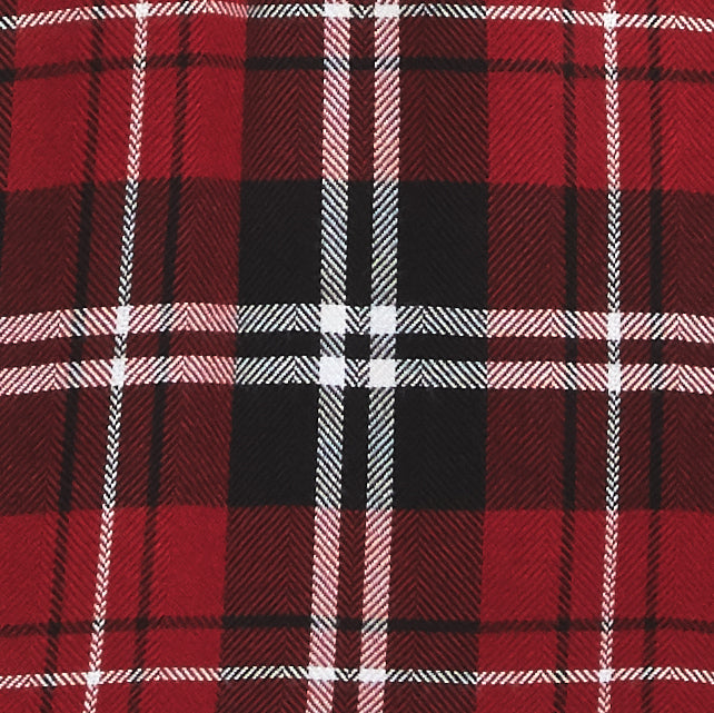 red plaid fabric with white and black accents