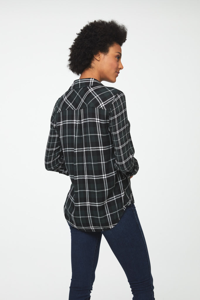 Back view Woman wearing classic long sleeve, button-front shirt in forest green plaid