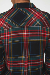 close up back view of plaid shirt in forest green with red accents