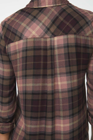 Back details of pink and brown plaid shirt
