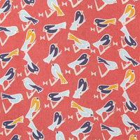 salmon color with bird print