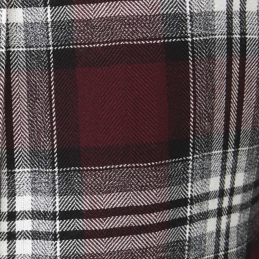 deep red plaid with white accents