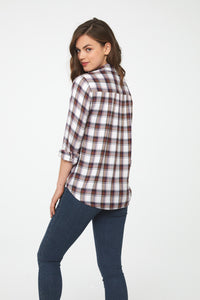 back view woman wearing a white and jewel-hue plaid, Long Sleeve Collared V-Neck Shirt with Wrap Silhouette and Elastic Bottom Hem