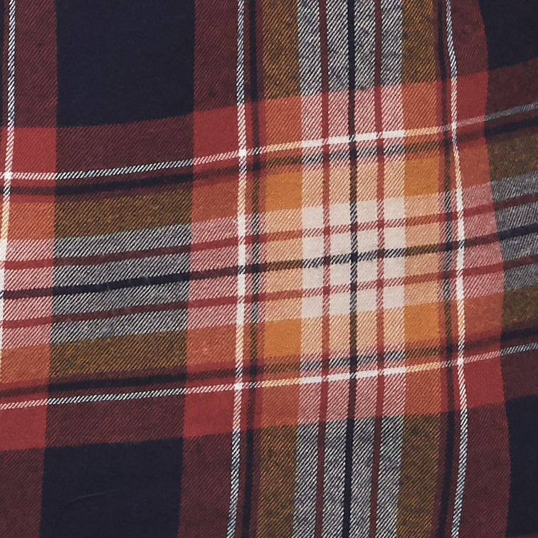 brown and orange plaid flannel