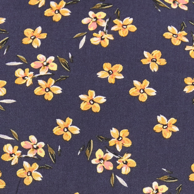 navy with yellow blossom floral fabric