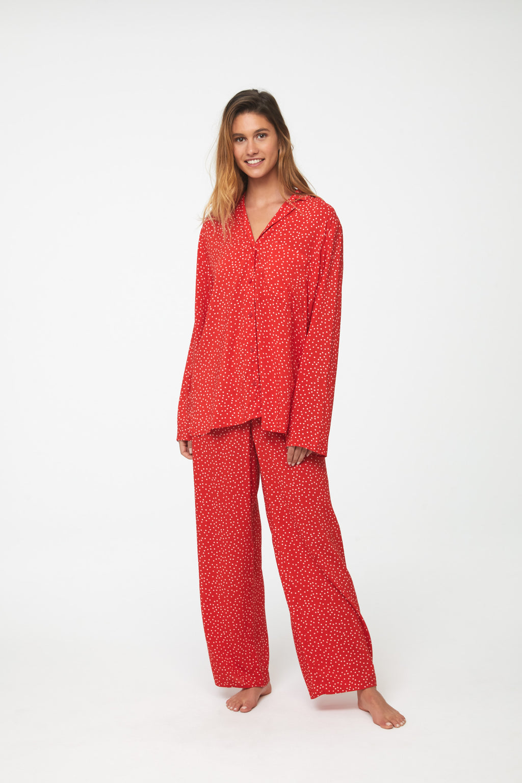 AYLAH PAJAMA SET - RED POLKA DOT