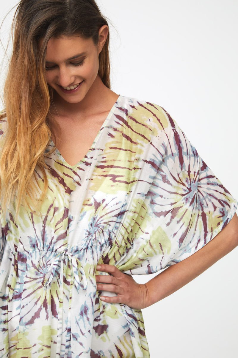 PALOMA BEACH COVER UP - CHARTRUESE TIE DYE