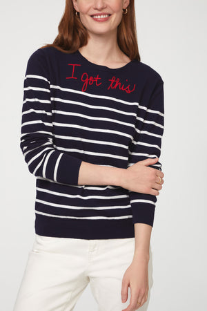 PENNY STRIPE SWEATER - NAVY/WHITE
