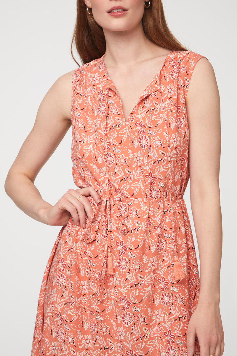 Beachlunchlounge Orange Paisley Printed Dress with Tassels