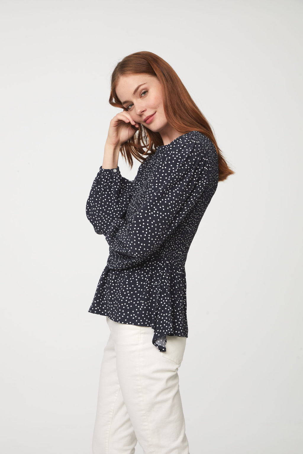 LAUREN TOP - NAVY WHITE DOTS