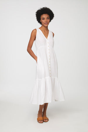 women's white sleeveless midi dress by beach lunch lounge