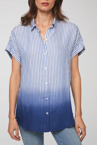 Short sleeve blue dip dye in stripe