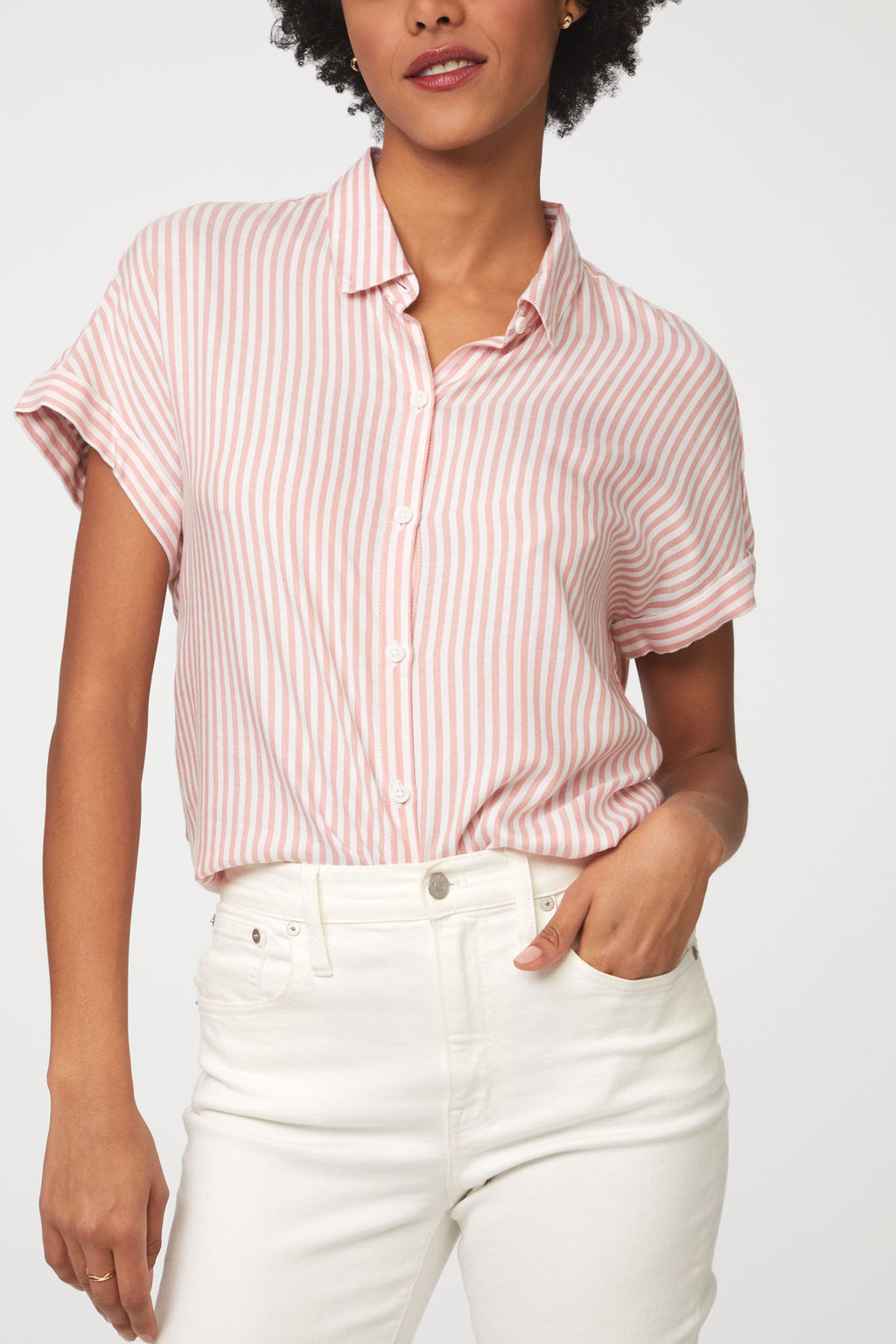 Striped Pink Button Up Blouse by beach lunch lounge
