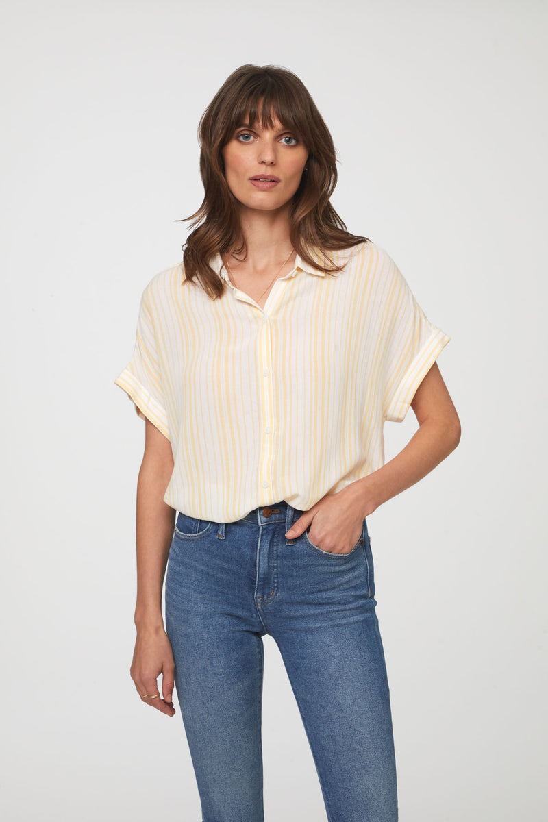 Women's striped yellow short sleeve button up shirt