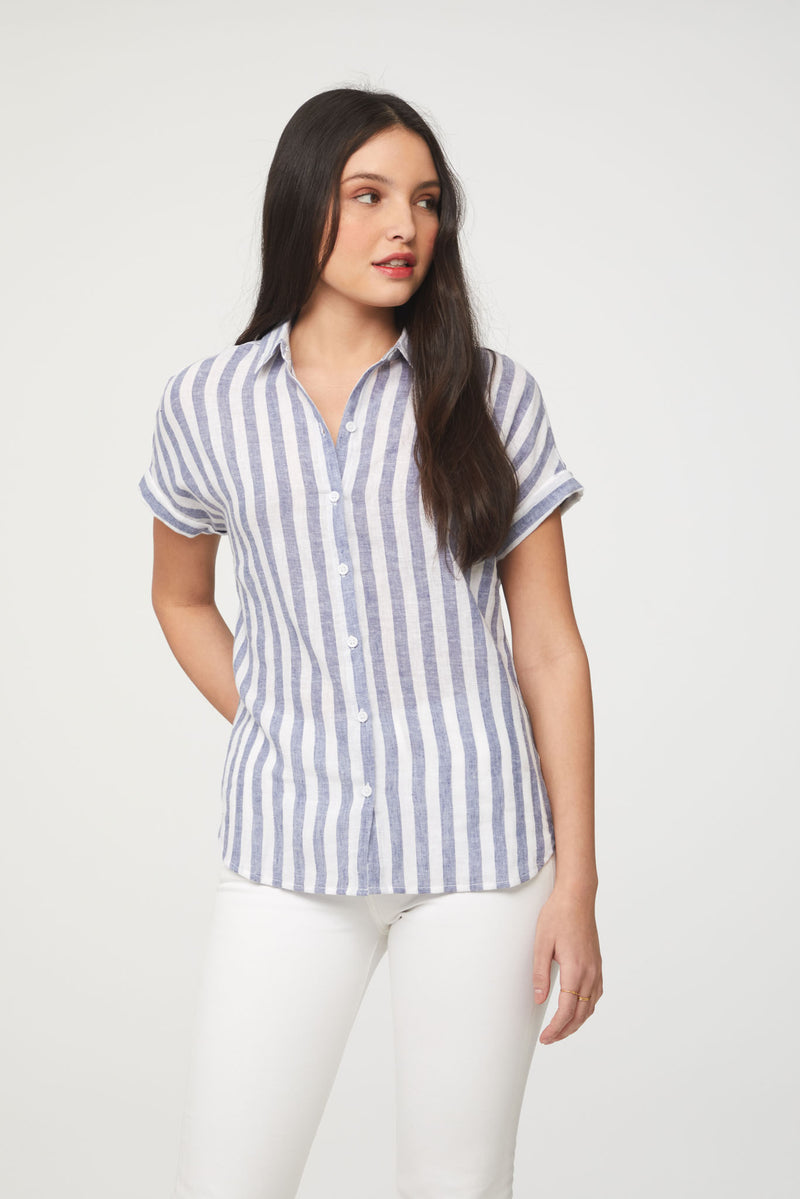 Women's short sleeve blouse with blue stripes from Beach lunch lounge