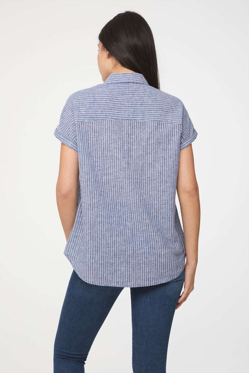 Women's Blue shirt with white stripes from Beach lunch lounge