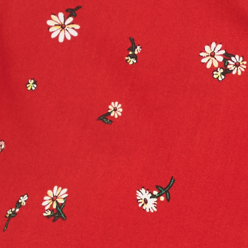 red with white floral pattern