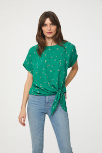 LUMI TOP - GREEN DAISIES