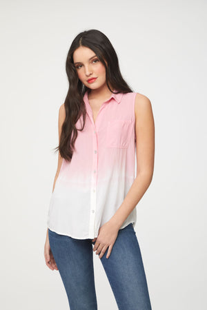 Pink and white dip dye sleeveless blouse by Beachlunchlounge