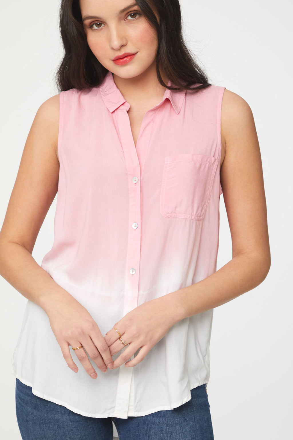 Close up of pink and white dip dye sleeveless blouse by Beachlunchlounge