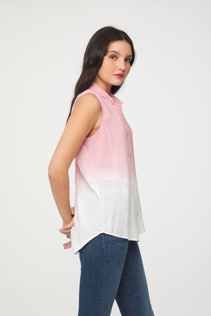 side view of pink and white dip dye sleeveless blouse by Beachlunchlounge