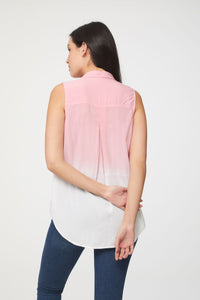 back view of pink and white dip dye sleeveless blouse by Beachlunchlounge