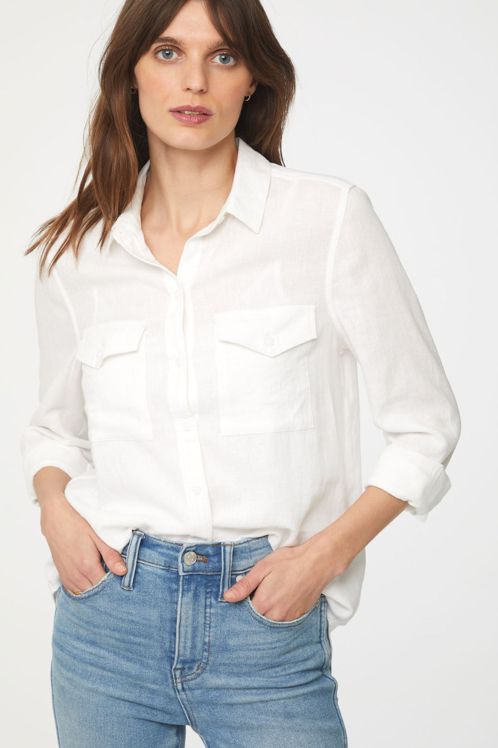 Women's White Long Sleeve Button Up with Front Pockets