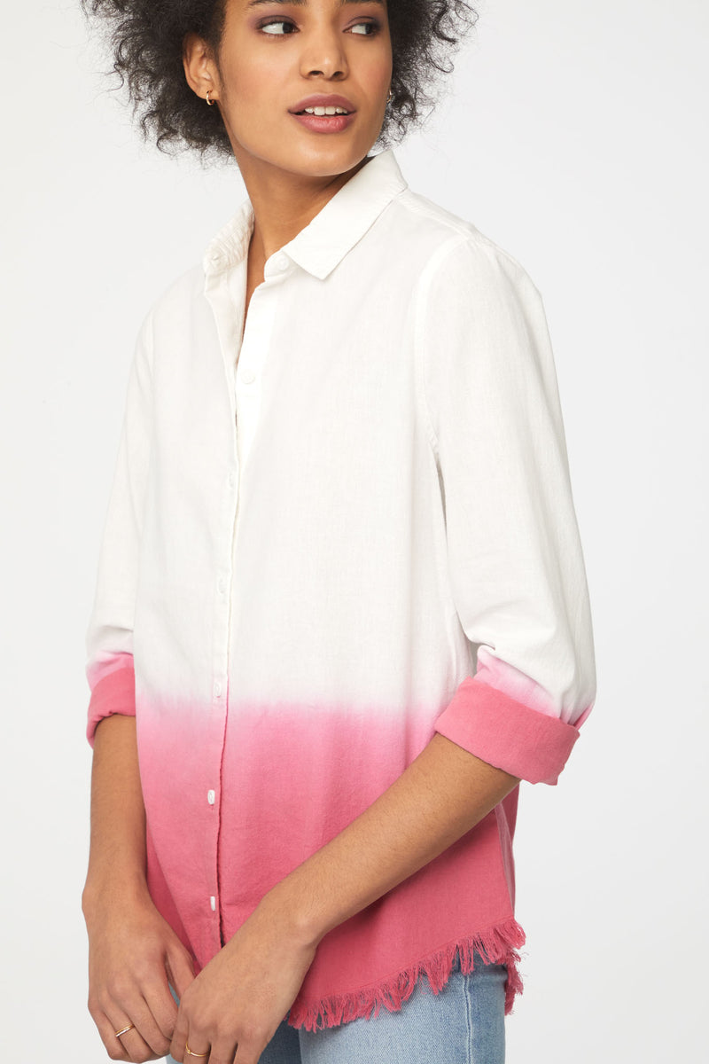 Close up of Beachlunchlounge Pink Ombre Long Sleeve Blouse
