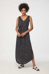 Black Dress with White Polka Dots Maxi Dress by beachlunchlounge