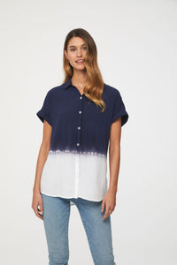 women's blue and white dip dye short sleeve top by beachlunchlounge