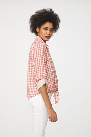 long sleeve pink plaid shirt by beachlunchlounge