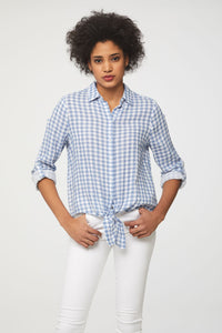 Blue plaid picnic table blouse by beachlunchlounge