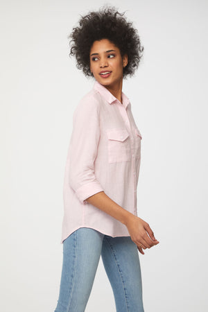 Women's Pink Long Sleeve Button Up with Front Pockets