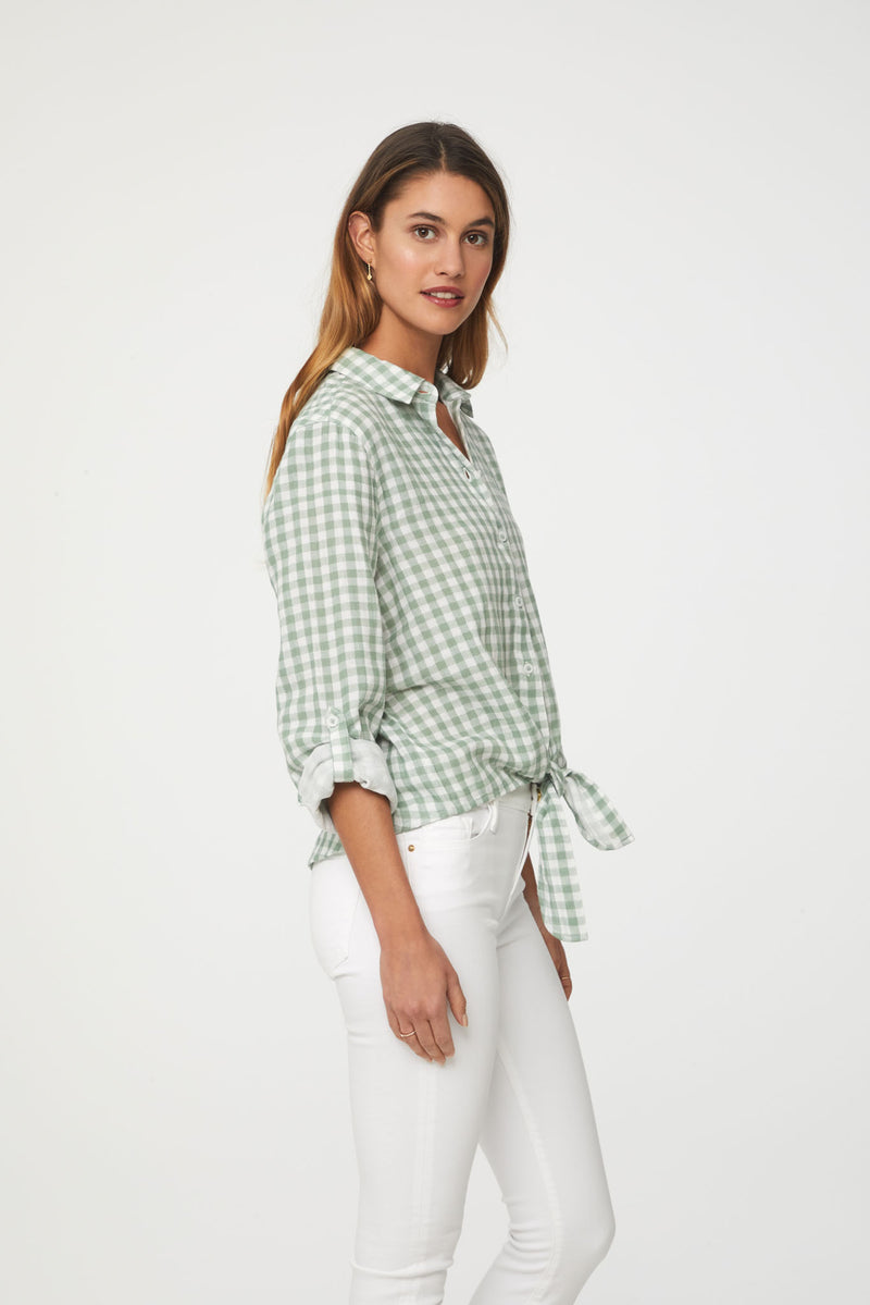long sleeve green plaid shirt by beachlunchlounge
