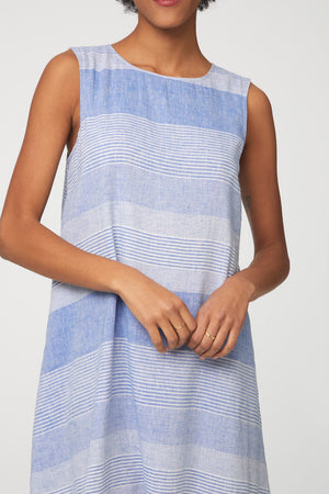 blue striped above the knee sleeveless dress