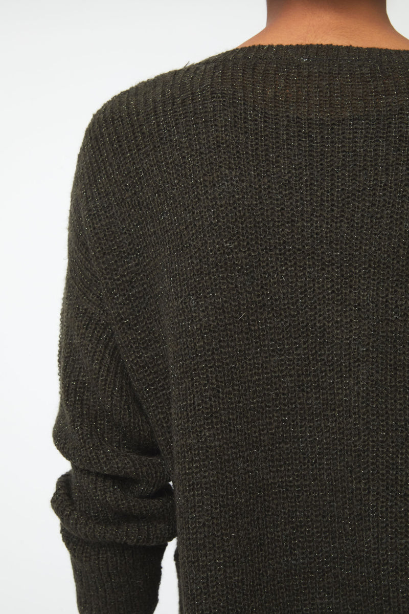 long sleeve, crew neck sweater in olive green color; swatch