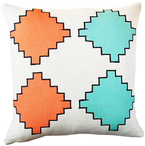 Aztec Diamonds cushion cover in coral and mint