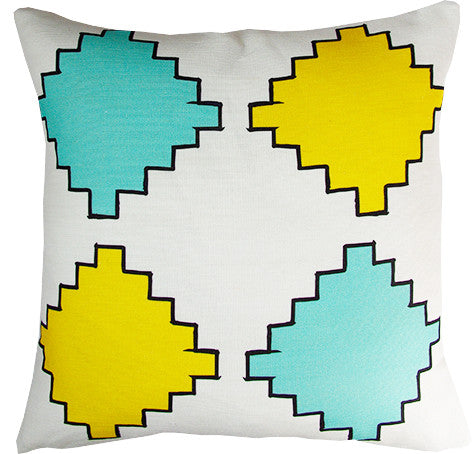 Aztec Diamonds cushion cover in yellow and mint