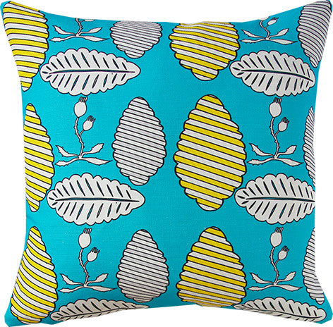 Falling Leaves cushion cover in turquoise