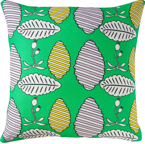 Falling Leaves cushion cover in emerald and yellow