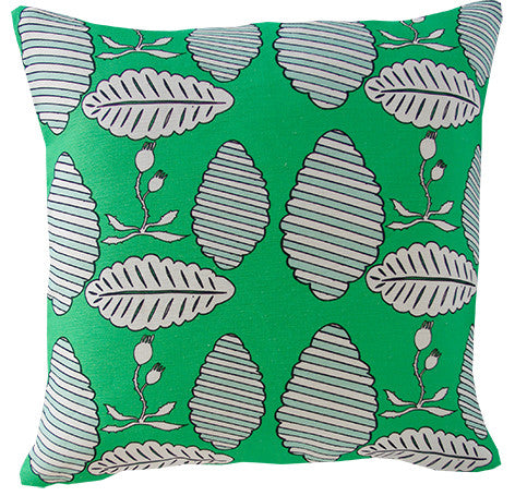 Falling Leaves Cushion Cover Emerald & Mint