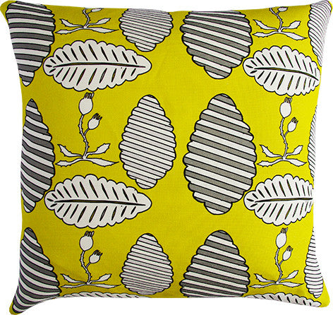 Falling Leaves lime and grey cushion cover