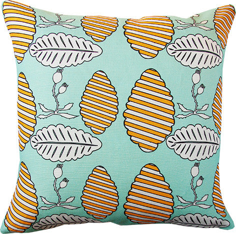 Falling Leaves cushion cover in mint