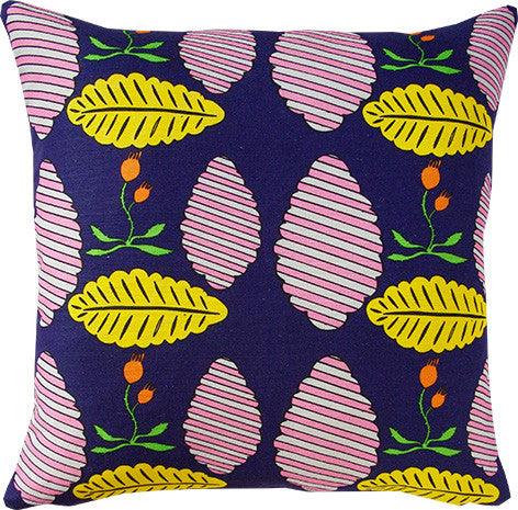Falling Leaves cushion cover in navy