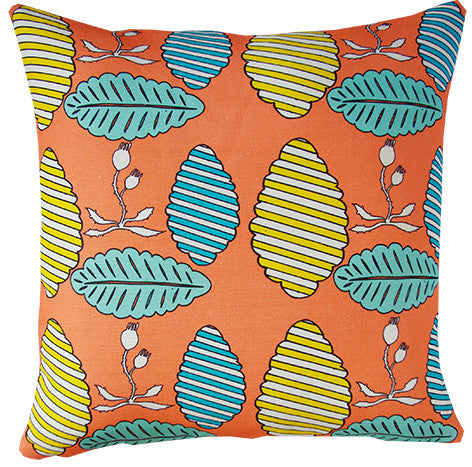 Falling Leaves cushion cover in coral