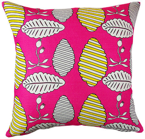 Falling Leaves cushion cover in hot pink