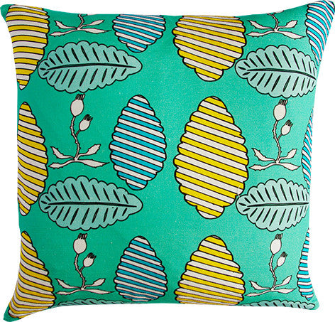 Falling Leaves spearmint cushion cover